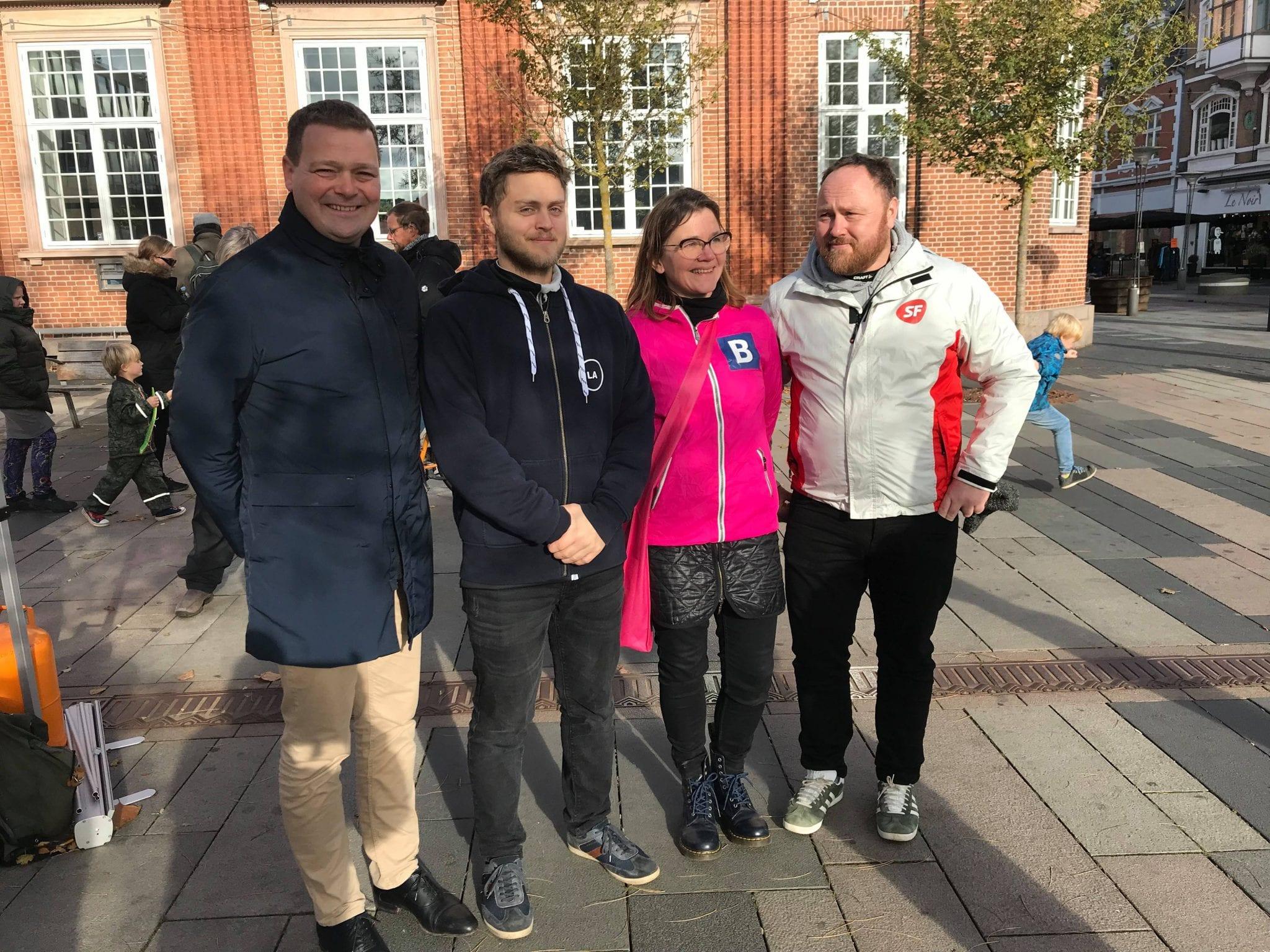 1 tidligere byrådskandidat og 3 folketingskandidater til Politisk Samarbejde Fredericias arrangement (Foto: Politisk Samarbejde Fredericia)